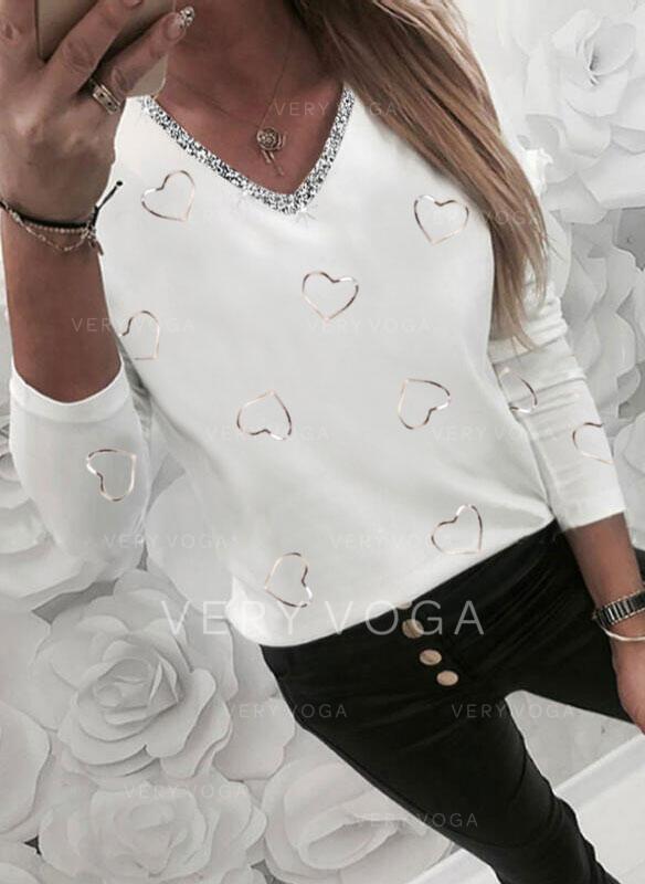 Kalp Imprimeu Decolteu în V Mâneci Lungi Tişörtler