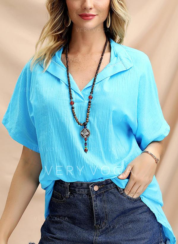 Egyszínű V-nyak Rövidujjú Hétköznapokra πουκαμίσες