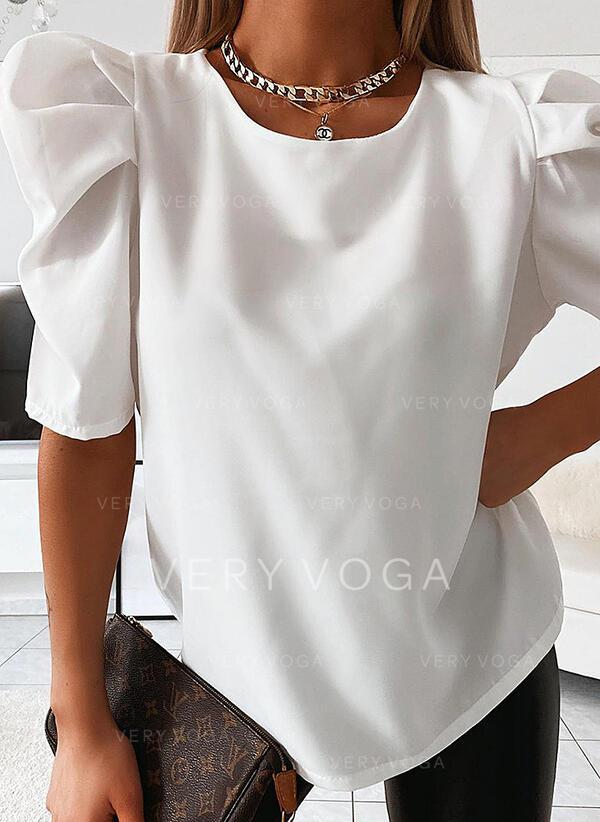 Solido Girocollo Puff Sleeve Mezze maniche Casuale Elegante Camicie