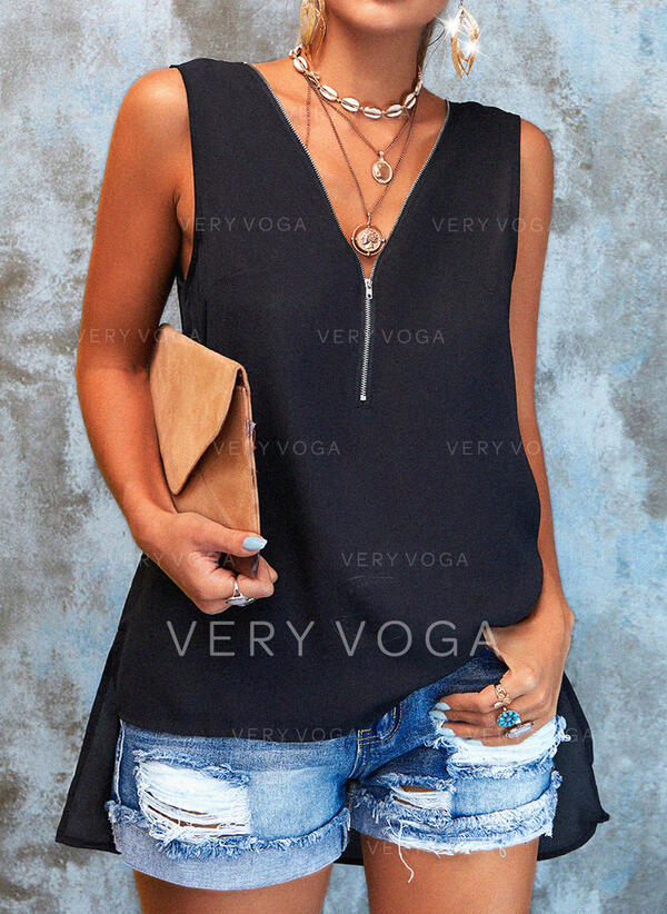 Solid V-Neck Sleeveless Casual Basic Tank Tops