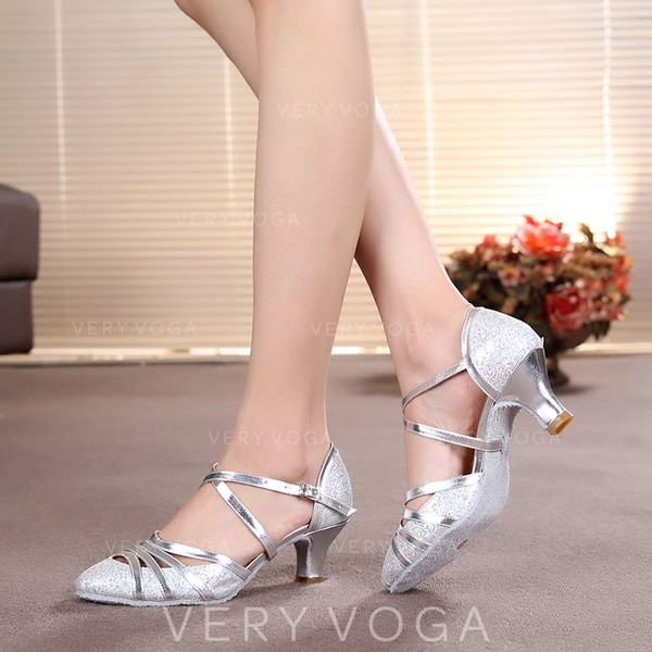Women's Ballroom Heels Pumps Sparkling Glitter With Ankle Strap Ballroom