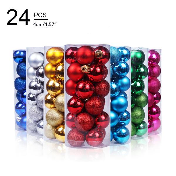 "Merry Christmas 24 PCS 1.57"" PVC Christmas Décor Ball (Set of 24)"