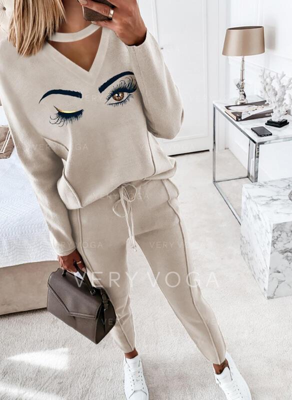 Print Drawstring Casual Plain Suits