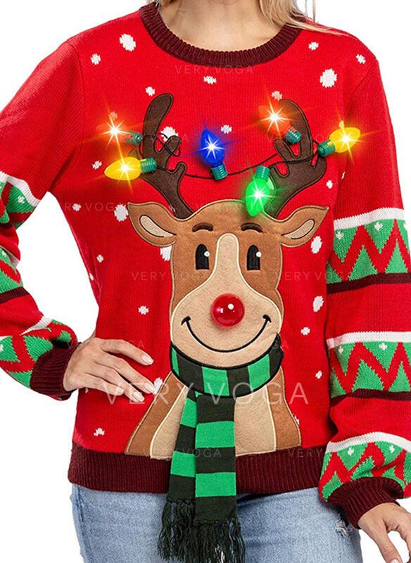 Donna Poliestere Stampa Cervo Maglione di Natale brutto