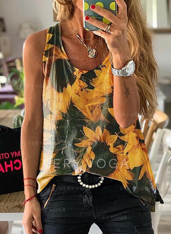 Sunflower Print Round Neck Sleeveless Tank Tops
