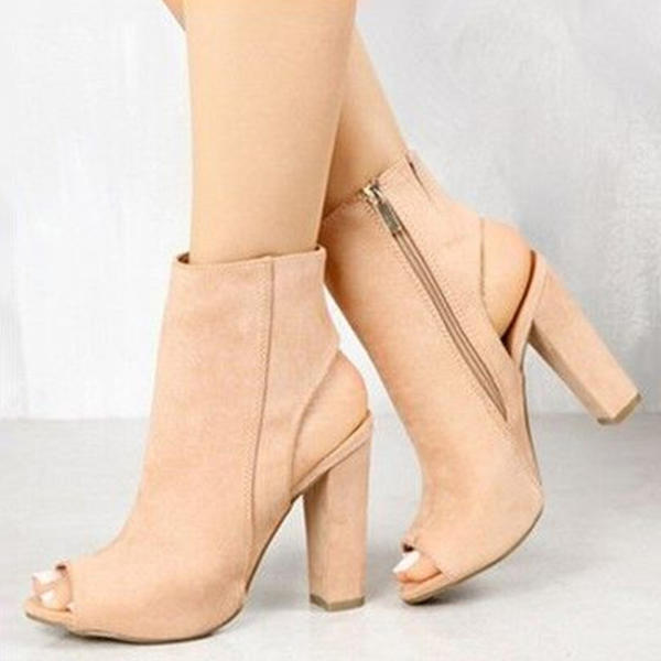 Women's Suede Chunky Heel Sandals Pumps Peep Toe Slingbacks With Zipper shoes