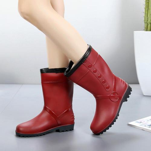 Femmes PVC Talon bas Bottes Bottes mi-mollets Bottes de pluie avec Autres chaussures