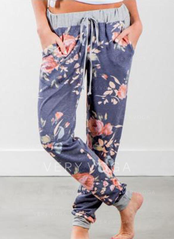Floral Pockets Drawstring Boho Casual Pants