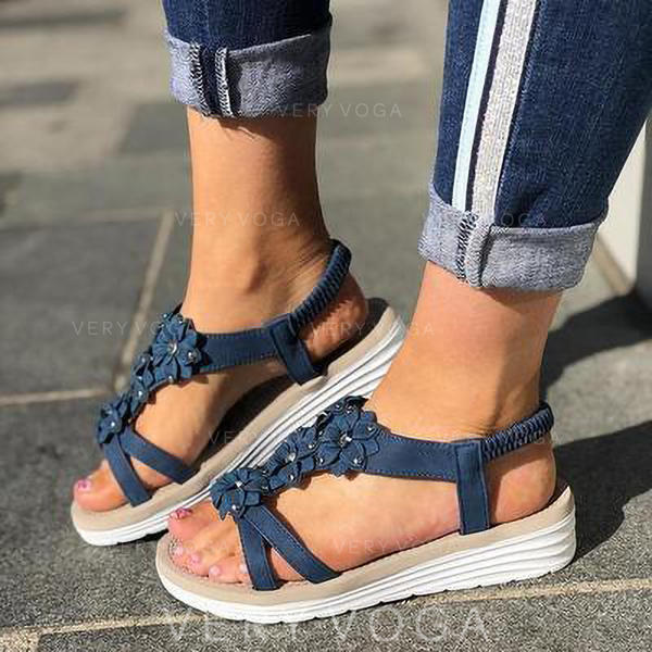Women's PU Wedge Heel Sandals Slingbacks With Flower shoes