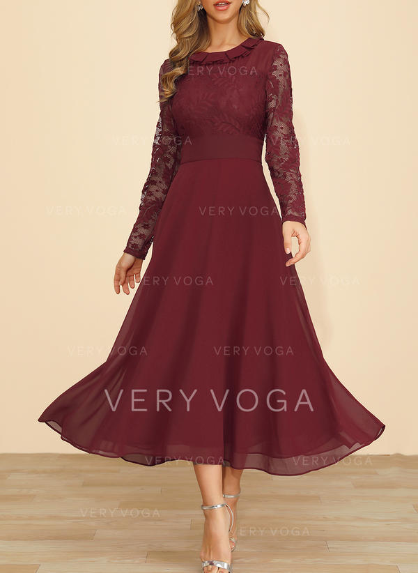 Lace Long Sleeves A-line Maxi Casual/Party Dresses