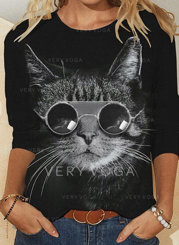 Trykk Animal Rund hals Lange ermer T-skjorter