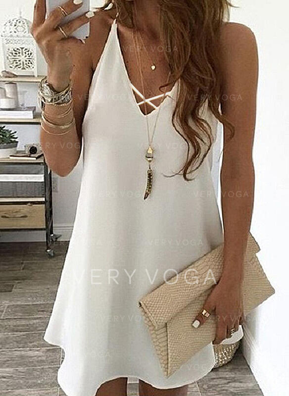 Solid Sleeveless Shift Above Knee Casual Slip Dresses