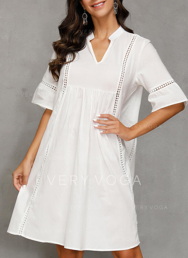 Lace/Solid 1/2 Sleeves Shift Knee Length Casual/Vacation Dresses