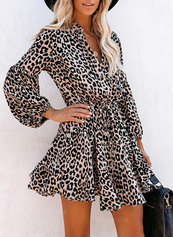 Leopard Long Sleeves A-line Above Knee Casual Skater Dresses
