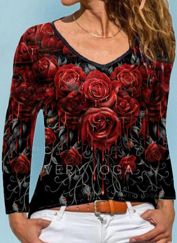 Floral Imprimeu Decolteu în V Mâneci Lungi Tişörtler