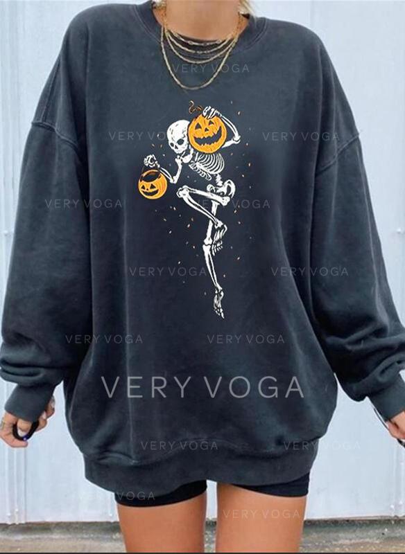 halloween Rund-ringning Långa ärmar Tröjor