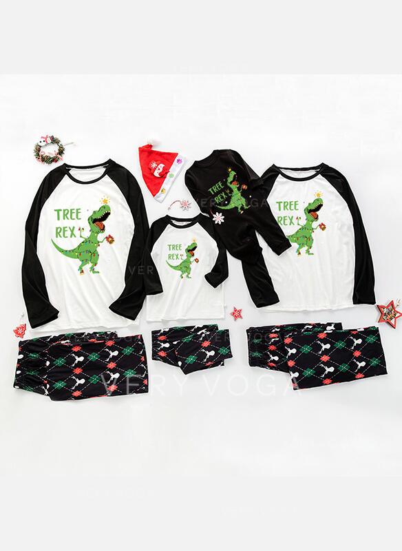 Color-block Letter Cartoon Family Matching Christmas Pajamas (1031338294)