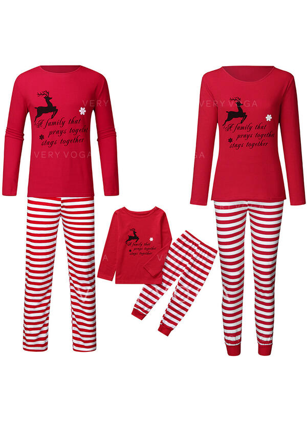 Hert Streep Print Voor Gezinnen Kerst Pyjamas