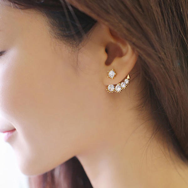 Nice Alloy Rhinestones With Imitation Pearl Ladies' Earrings