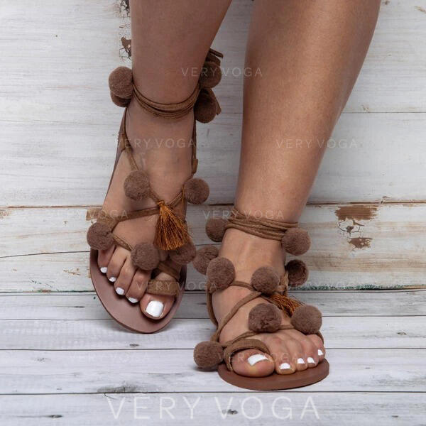 Women's PU Flat Heel Sandals With Faux-Fur shoes
