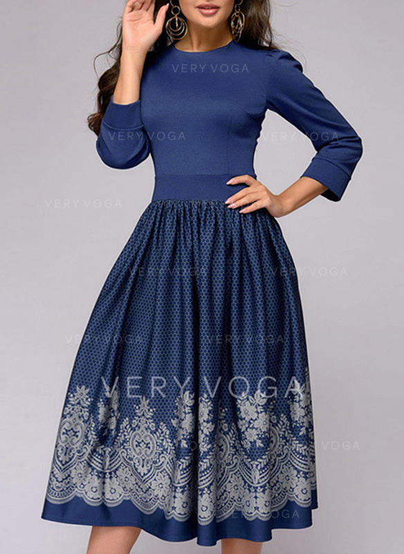 Nadrukowana Rękawy 3/4 W kształcie litery A Casual/Elegancki Midi Sukienki