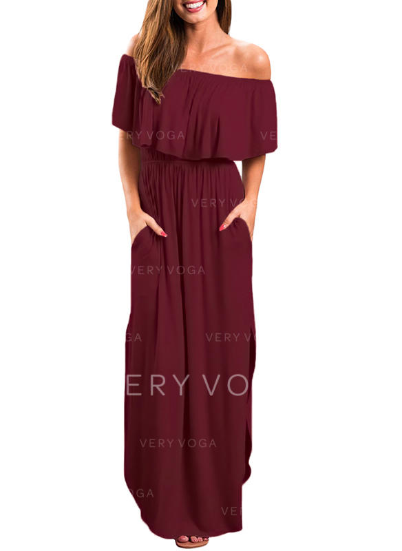 Solid Short Sleeves A-line Maxi Little Black/Casual Dresses