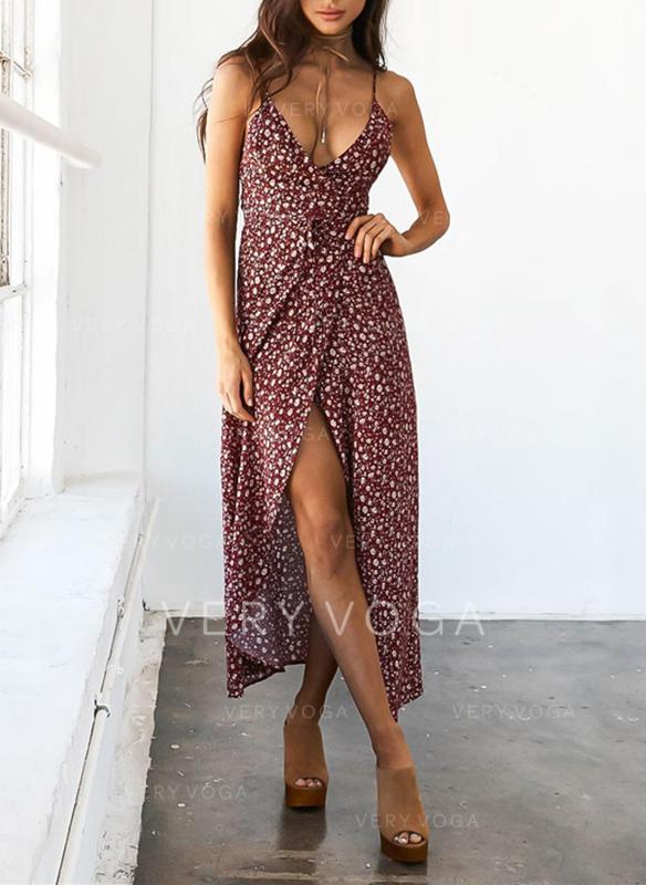 Print Sleeveless A-line Asymmetrical Casual/Vacation Dresses