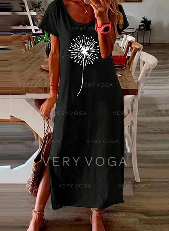 Print Short Sleeves Shift Casual Maxi Dresses