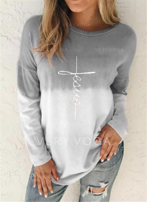 Gradient Print Round Neck Long Sleeves T-shirts