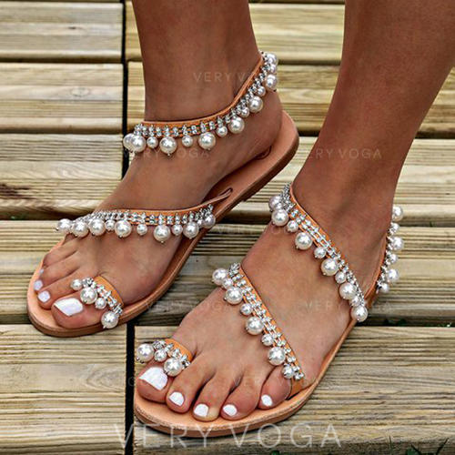 De mujer PU Tacón plano Sandalias Planos Encaje con Perlas de imitación zapatos