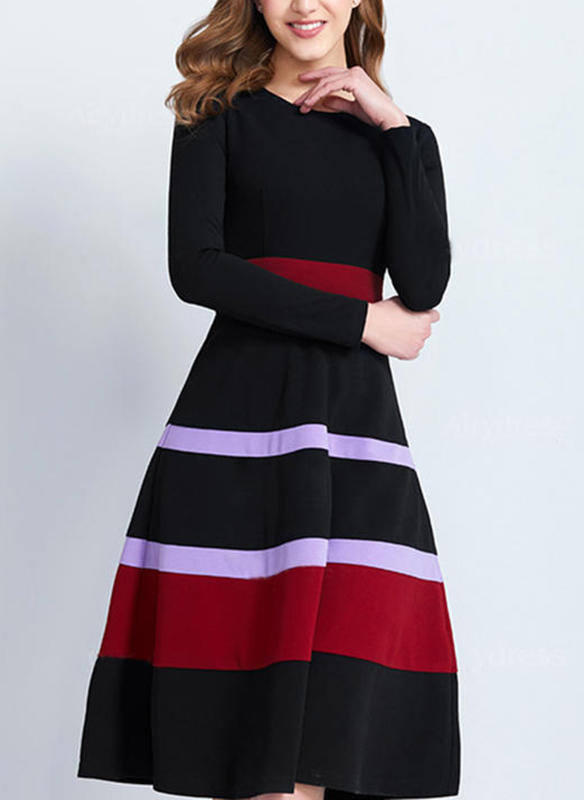 Randig Långa ärmar A-linjeformad Knälängd Vintage/Fritids/Elegant Klänningar