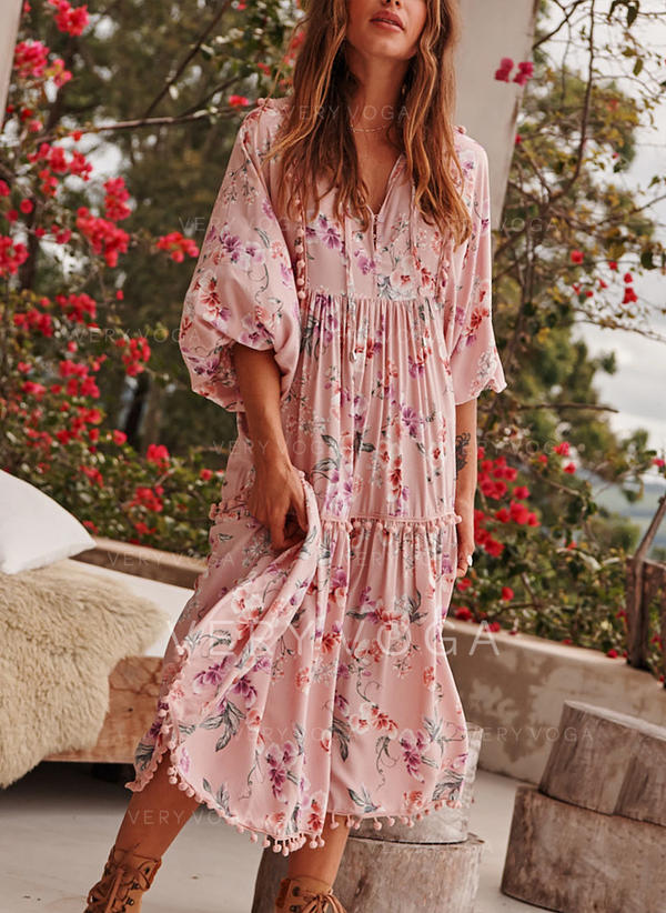 Print/Floral 1/2 Sleeves Shift Knee Length Casual/Boho/Vacation Dresses (199287636)