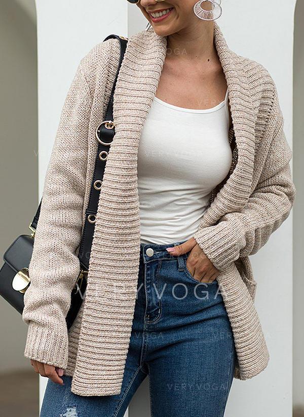Solid Striat Bucată tricotată Cep Cardigan