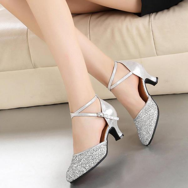 Mulheres Salão de Baile Saltos Couro Espumante Glitter Moderno