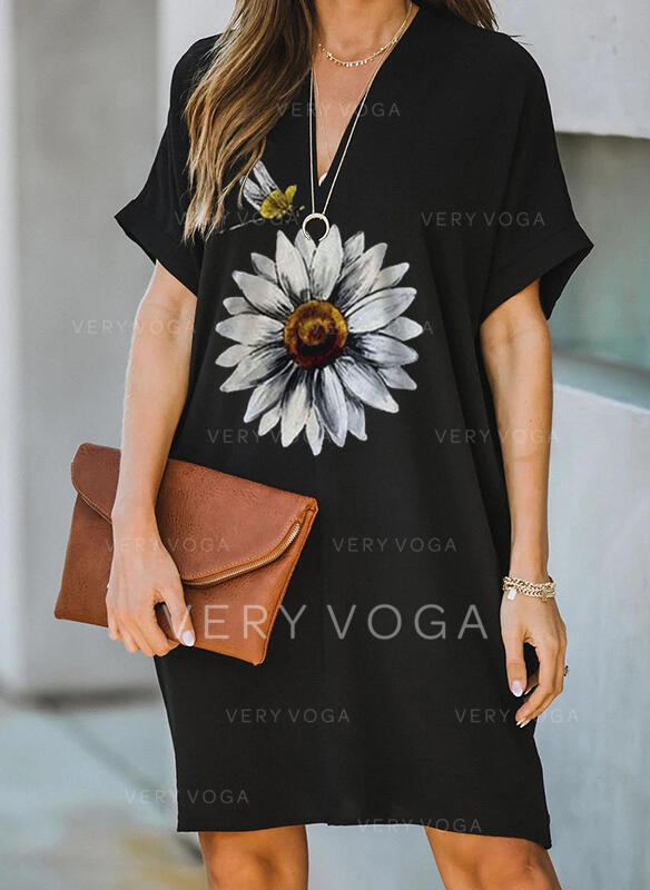 Floral/Animal Print Short Sleeves Shift Knee Length Casual Dresses