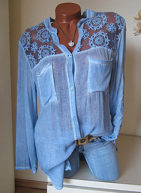 Lace V Neck Long Sleeves Casual Shirt Blouses