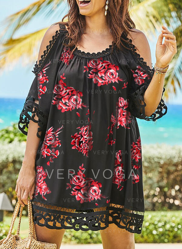 Lace/Print/Floral 1/2 Sleeves/Cold Shoulder Sleeve Shift Above Knee Casual/Vacation Tunic Dresses