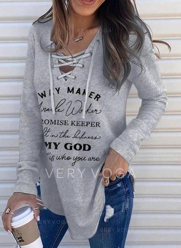 Print Letter V-Neck Long Sleeves Sweatshirt