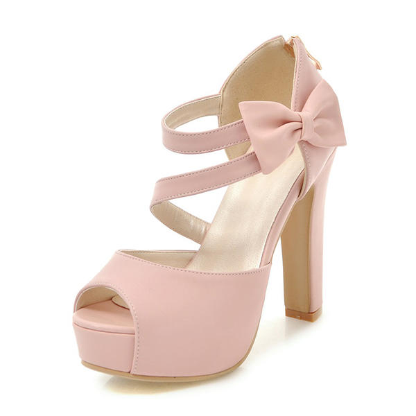 53099cc16a78 Women s PU Chunky Heel Sandals Pumps Platform Peep Toe With Bowknot shoes