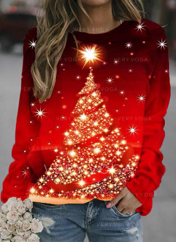Wydrukować Okrągły Dekolt Długie rękawy Świąteczna bluza