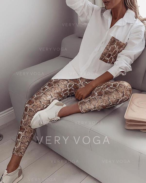 Turn-down Collar Long Sleeves Snakeskin Fashionable Top & Pants Sets