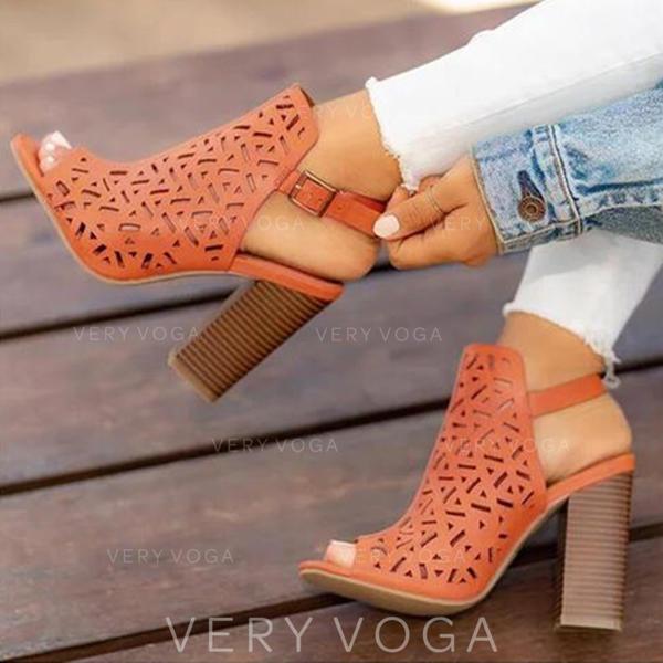 Mulheres PU Salto robusto Sandálias Bombas Peep toe com Oca-out sapatos