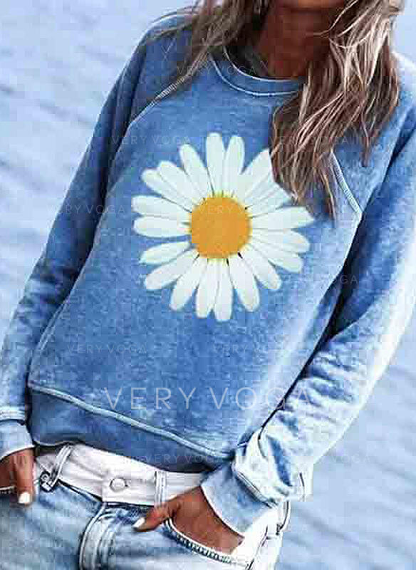Print Floral Round Neck Long Sleeves Casual T-shirts