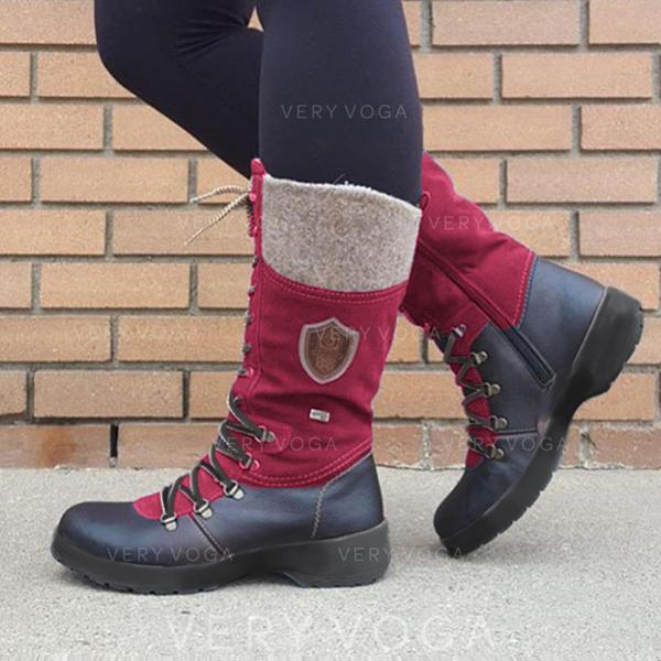 Kvinner PU Lav Hæl Støvler med Blondér sko