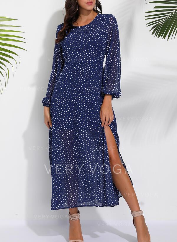Print/PolkaDot Long Sleeves A-line Casual/Vacation Midi Dresses