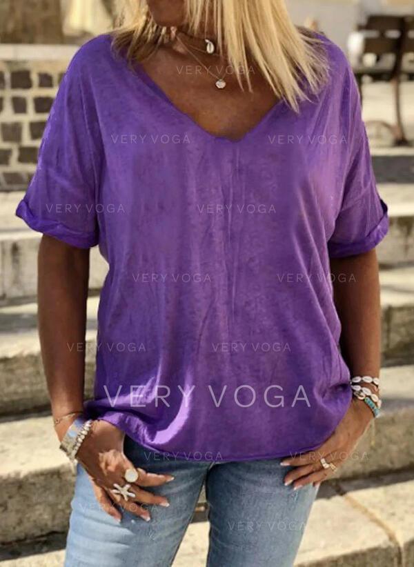 Couleur Unie Col V Manches Courtes Décontractée T-shirts