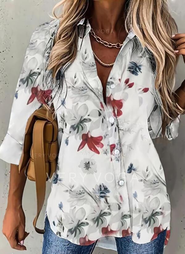 Tisk Květinový Rever 3/4 rukávy Casual Elegant Bluze
