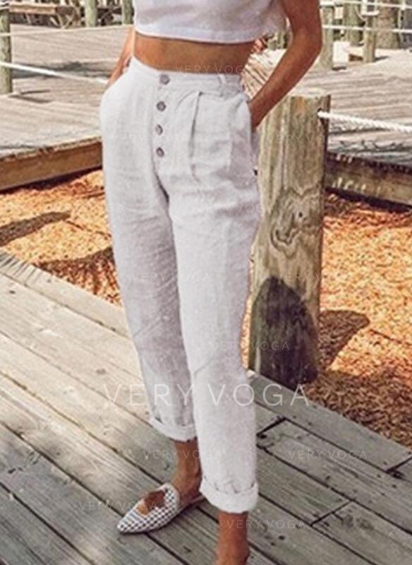 Kieszenie Marszczona Duży rozmiar Długo Nieformalny Jednolity Spodnie