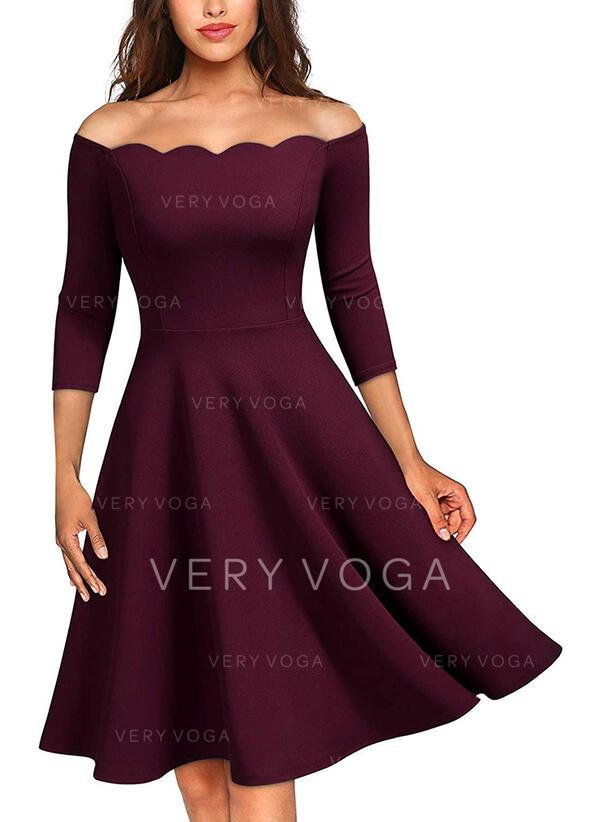 Solid 3/4 Sleeves A-line Knee Length Little Black/Party/Elegant Skater Dresses