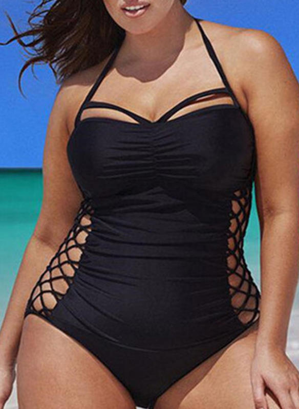 Solid Color Underwire Halter Sexy Plus Size One-piece Swimsuits